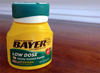 bottle of Bayer Low Dpse Aspirin