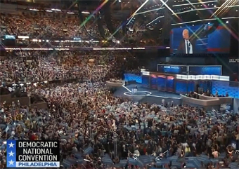 Bernie Sanders entrance to the DNC stage