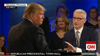 Donald Trump and Anderson Cooper at a town hall meeting on CNN