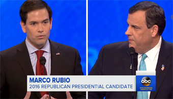 Marco Rubio and Chris Christie at Republican Debate February 7, 2016