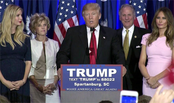 Donald Trump giving victory speech after winning in South Carolina