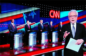 Wolf Blitzer mediator at CNN Republican debate in Houston Texas