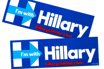 Bumper stickers for Hilary