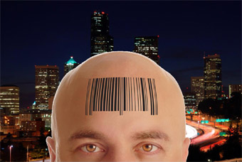 Cable Customer with barcode on forehead