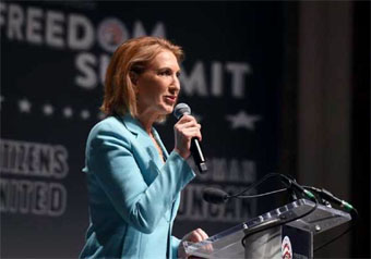 Carly Fiorina speaking at the Freedom Summit in Greenville South Carolina May 8, 2015