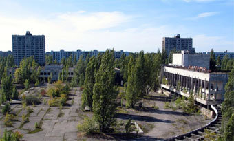 view of abandoned downtown of Prypyat