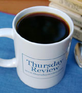 black coffee in Thursday Review mug