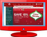 Screen shot of Target Cyber Monday website