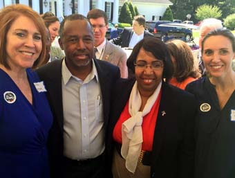Vanita with Dr. Ben Carson and wife with supporters
