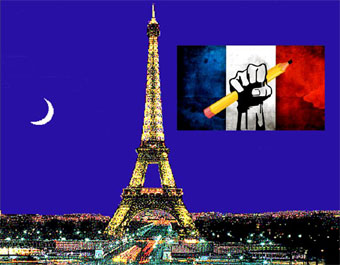 Eiffel tower background with French flag with fist holding pencil