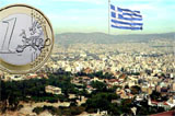 Euro coin & Greek flag with Athens in the background