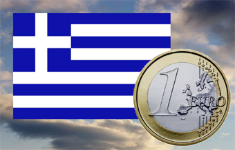 Greek flag & Euro coin