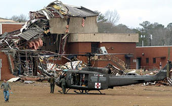 Gym after tornado in Enterprise Alabama