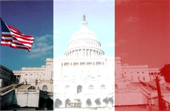 Photo of US Capitol composite with French flag