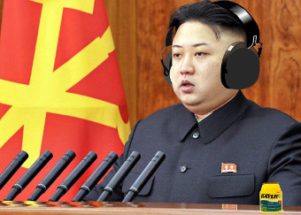 Kim JungUn wearing headphones