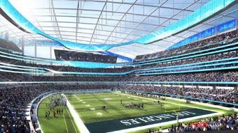 Artist conception of new Inglewood, California stadium for LA Rams