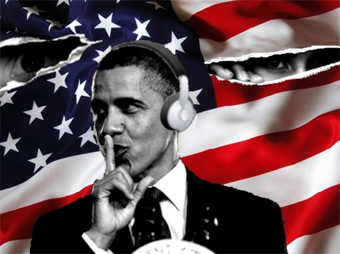obama shhh-ing with flag background - art by Rob Shields