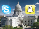 Madison WI capitol with Skype and Snapchat logos