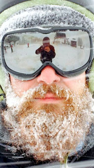 Man wearing snow goggles