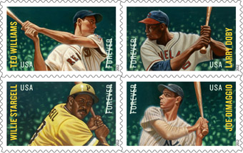 US postal stamps featuring Baseball heroes