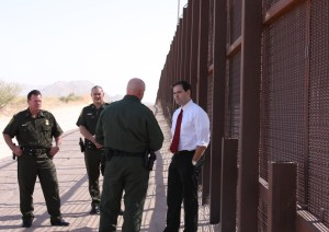 U.S. Senator Marco Rubio at the border fence; photo courtesy of Univ. of Texas at Austin