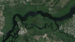 A portion of the St. John's River and Murphy Creek near Palatka, FL; image courtesy Google.