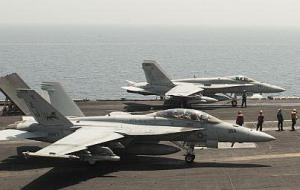 F 18 Hornets on Carrier_crop